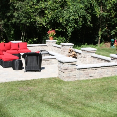 After large patio, firepit, seating wall with piers 6