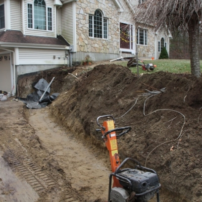 Before Retaining Wall and Granite Steps
