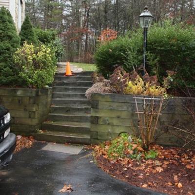 Before Retaining Wall, Granite Steps