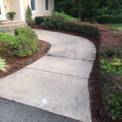 Before concrete walkway