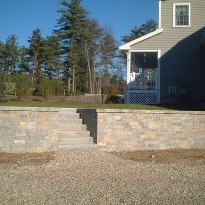 After retaining wall and granite steps 2
