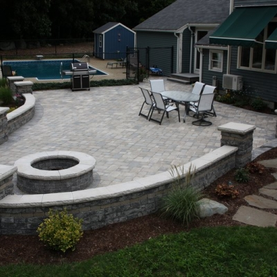 After large patio, firepit, seating wall with piers 5