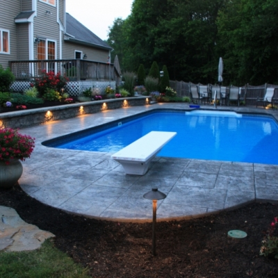 Seating wall with Low Voltage lighting and plantings
