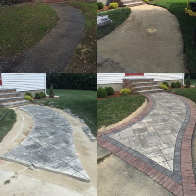 Walkway before, during and after