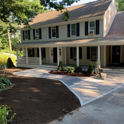 Paver entrance walkway with transition in the field