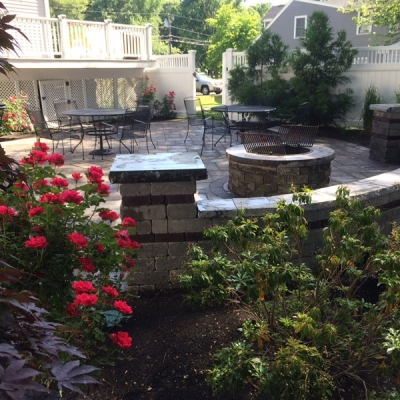 Patio, seating wall, firepit with low voltage lighting