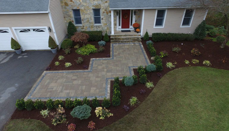 Whitmores Yard Care Client Home Front paver area and plantings