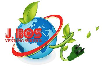 J. Bos Vending Service is committed to green energy and having an energy efficient vending supply chain. The Jo. Bos logo wrapped around a globe and a green electrical plug as a vine from a plant.