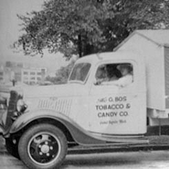 Carry on the tradition! An old J. Bos vending truck from the mid-20th century. Apply for one of our vending machine jobs today.