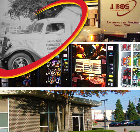 A collage of images, including old and new J Bos vending machine service trucks, vending machines, and the business exterior.
