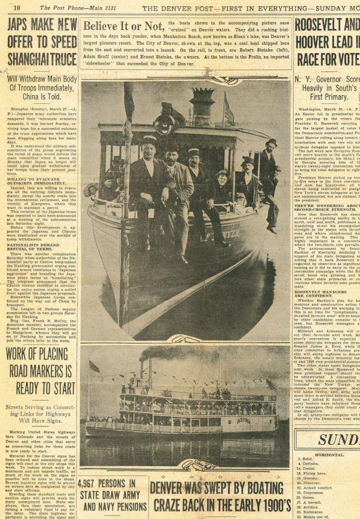 News article from the Denver Post showing the City of Denver, a coal boat and it's owners Robert and Ernest Steinke