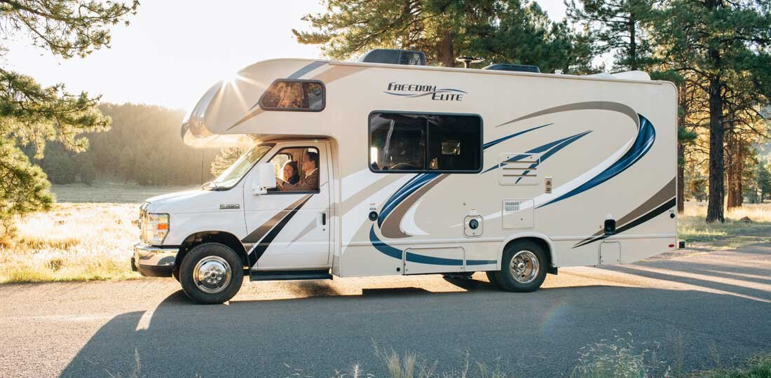 RV driving on road