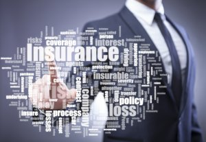 Man with insurance words