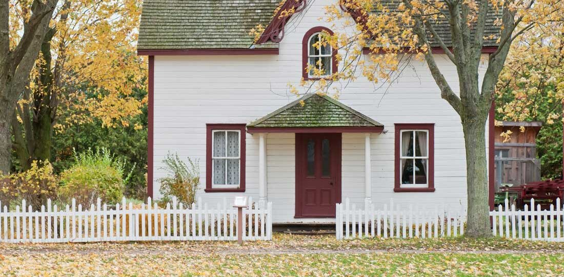 White home in fall