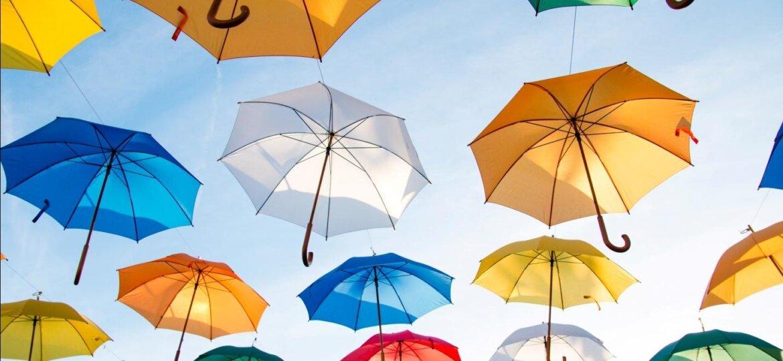 Multi-Colored Flying Umbrellas
