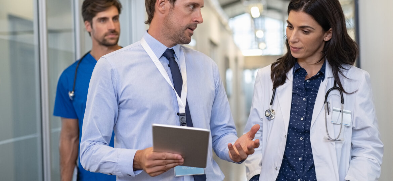 Medical professionals in hallway