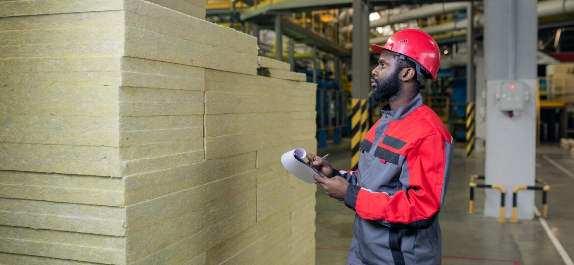 Commercial worker reviewing inventory