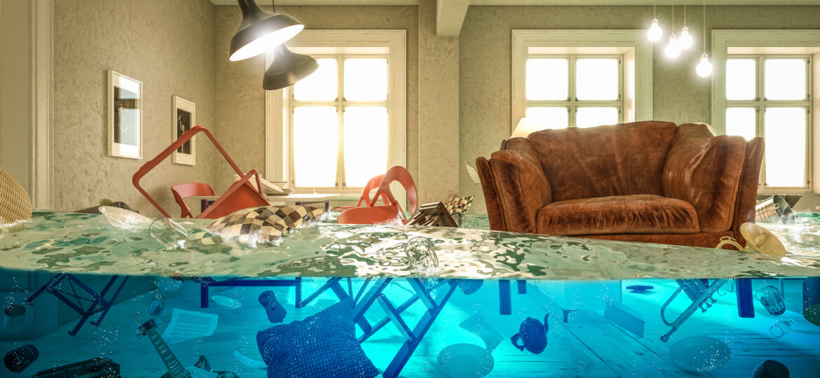 living room flooded with floating chair and no one above.
