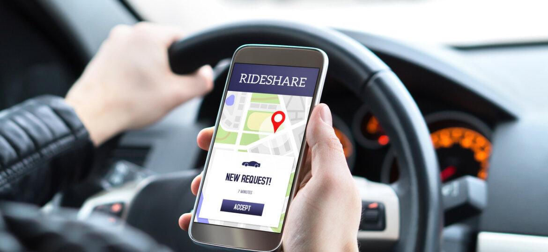 Driver using rideshare app