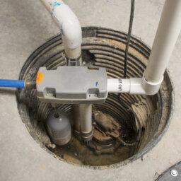 Sump pump in basement floor
