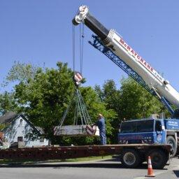 Crane loading truck
