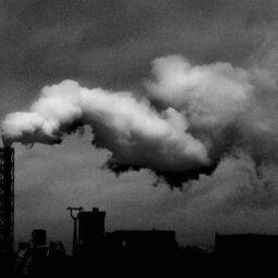 Black and white smoke stack
