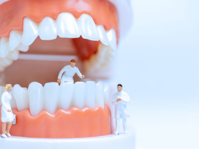 Miniature mouth with people