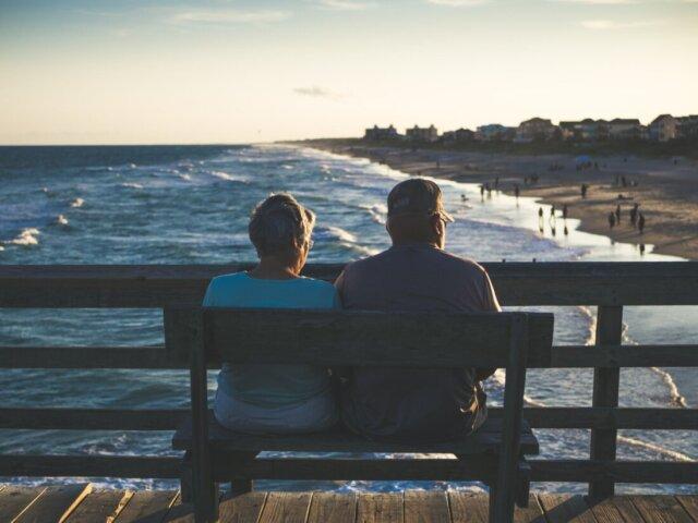 Man and woman at bench