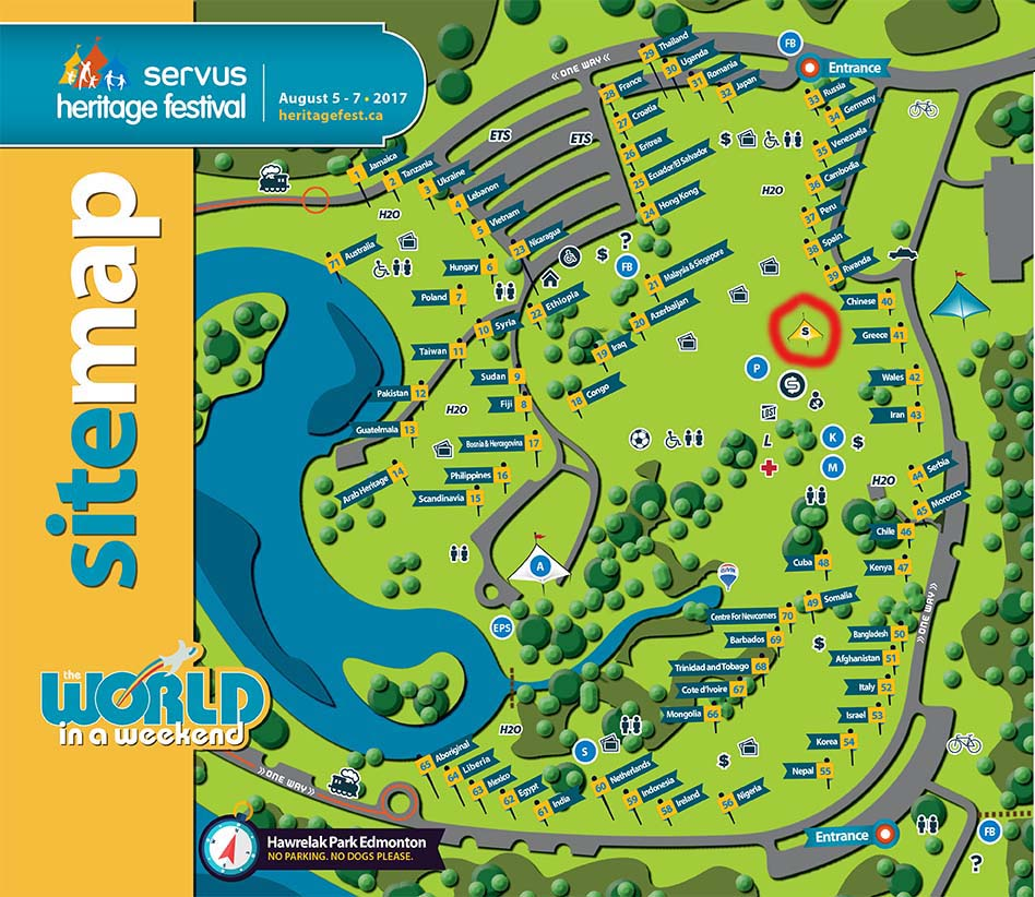 Map of Heritage Festival grounds with seniors' rest tent circled