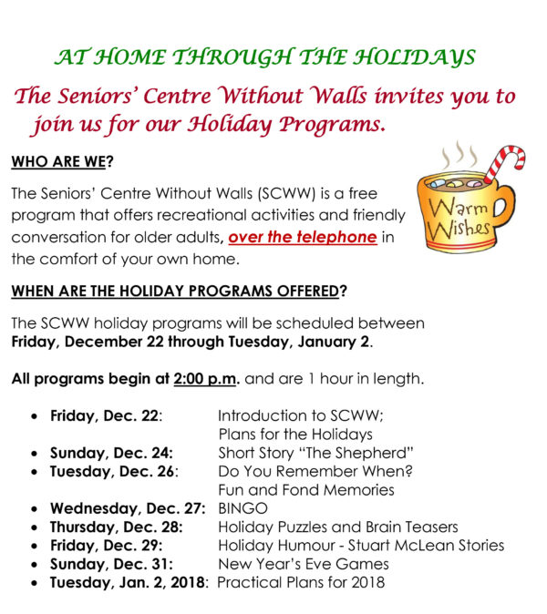 Seniors' Centre Without Walls holiday programs 2017