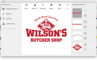 A preview of Press & Release's design studio. Many different art templates displayed. The selected design template is a logo for a butcher shop. The preview demonstrates the ability to customize the text, graphics, and colors of the artwork.