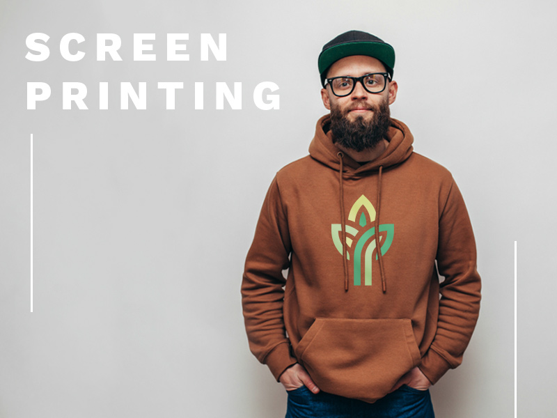 Text: Screen Printing; Image: Man wearing a rust-colored hoodie with a screen printed logo.