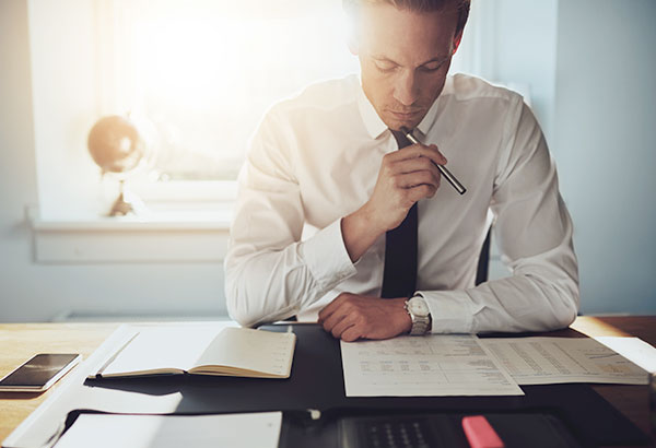 Accountant reviewing a superannuation fund