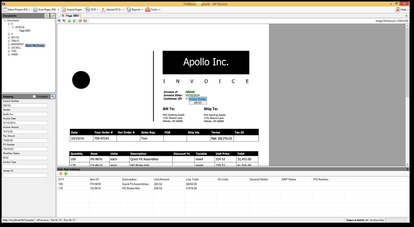 Filebound Screenshot Invoice