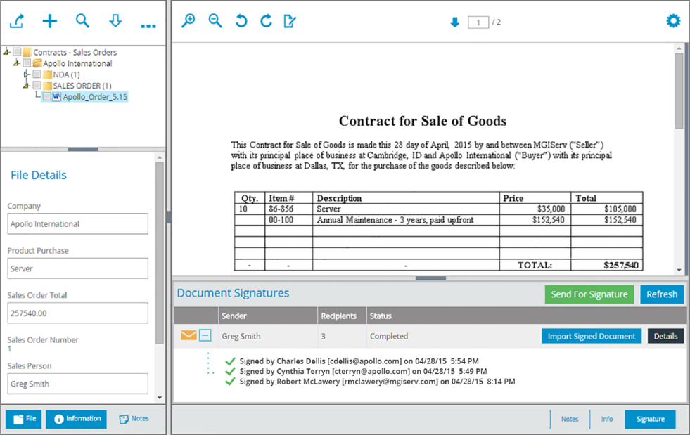 Filebound Screenshot Contract