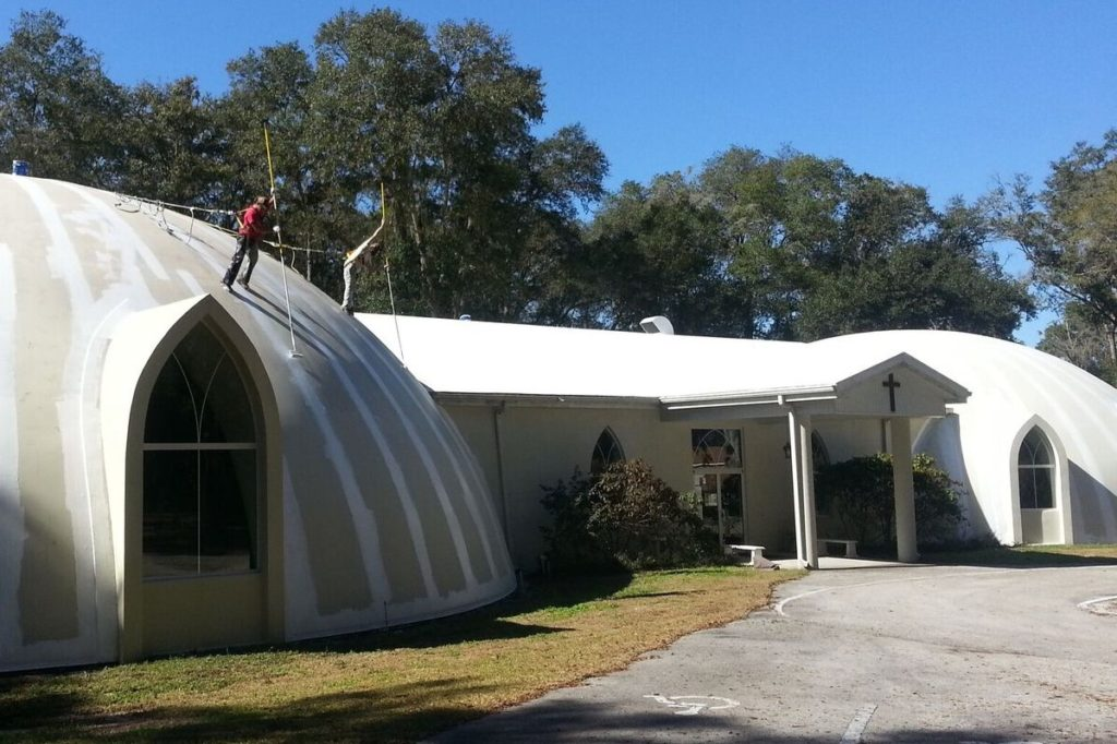 Affordable Roofing adds Roof coating on dome church to prepare for Restoration