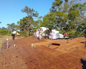 Wood roof deck during an Affordable Roofing job