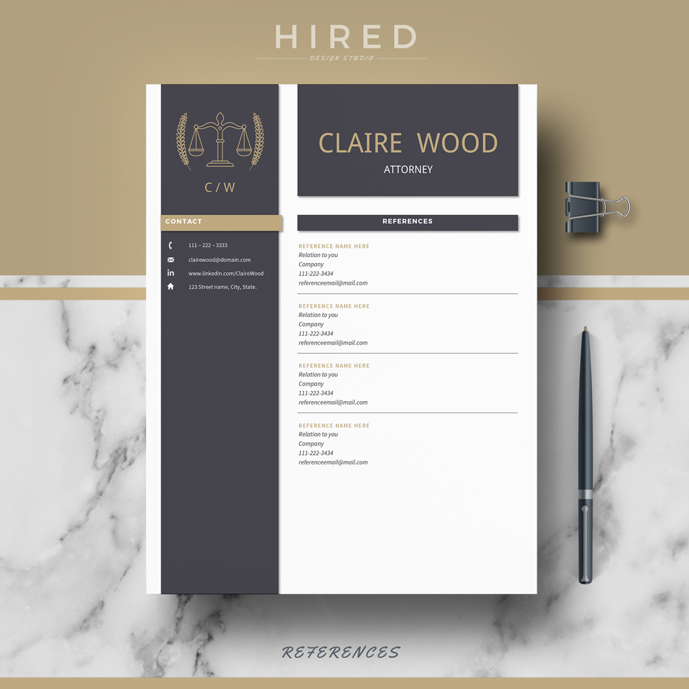 "Legal Resume Template for MS Word: ""Claire"""