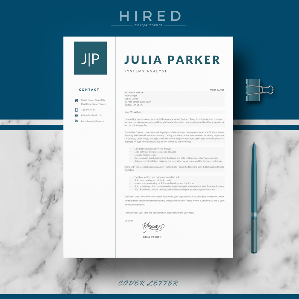 "Professional, Modern and Minimalist Resume Template for MS Word: ""Julia"""