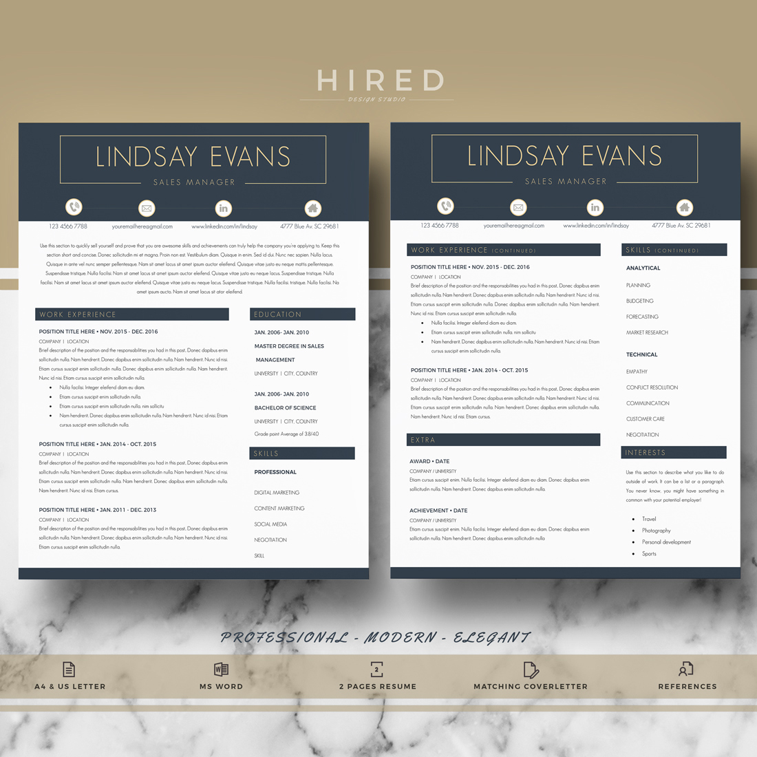 "Professional & Modern Resume Template for MS Word: ""Lindsay"""