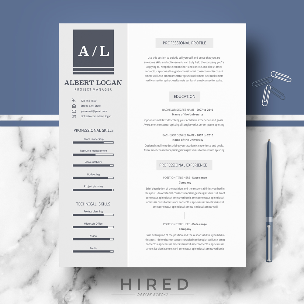 """Professional, Modern and Minimalist Resume Template for MS Word: """"Albert"""""""