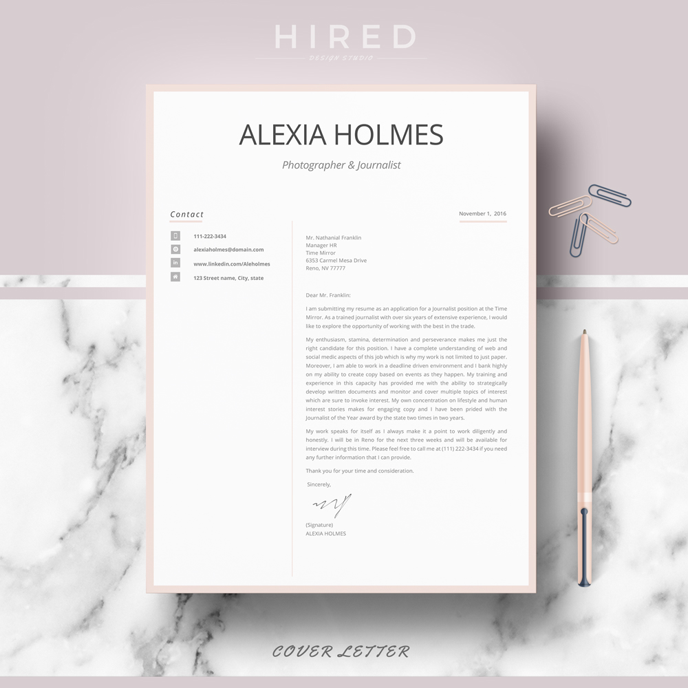 """Professional, Modern and Minimalist Resume Template for MS Word: """"Alexia"""""""