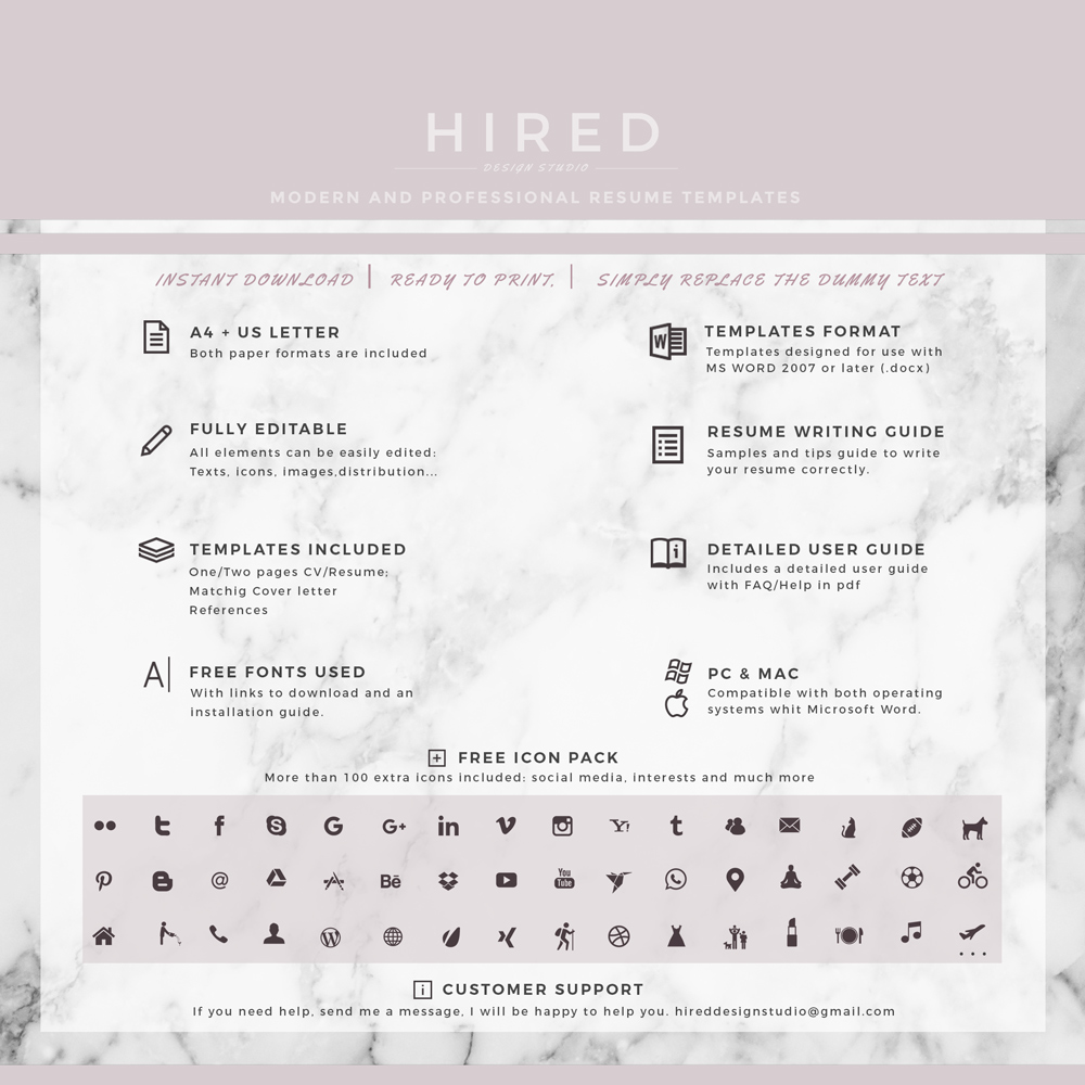 "Professional, Modern and Minimalist Resume Template for MS Word: ""Alexia"""