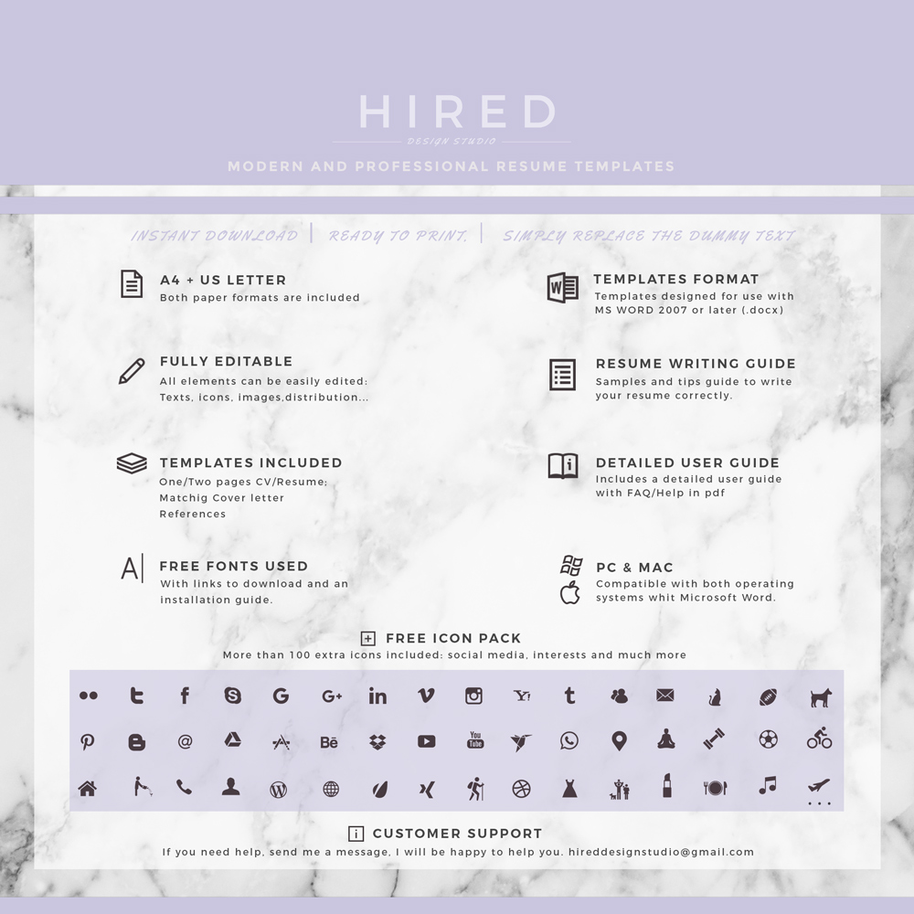 "Nurse Resume Template for MS Word: ""Alice"""