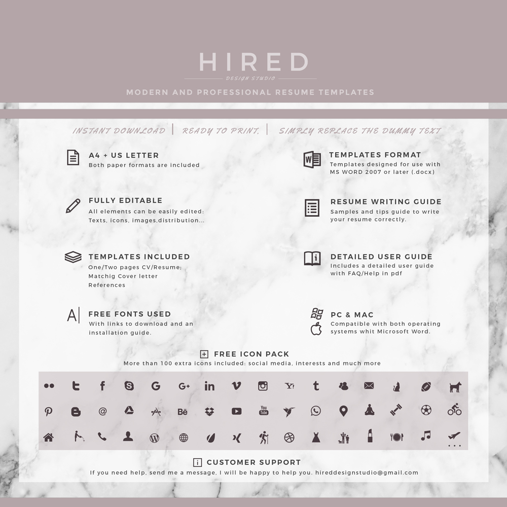 "Professional & Creative Resume Template for MS Word: ""Audrey"""