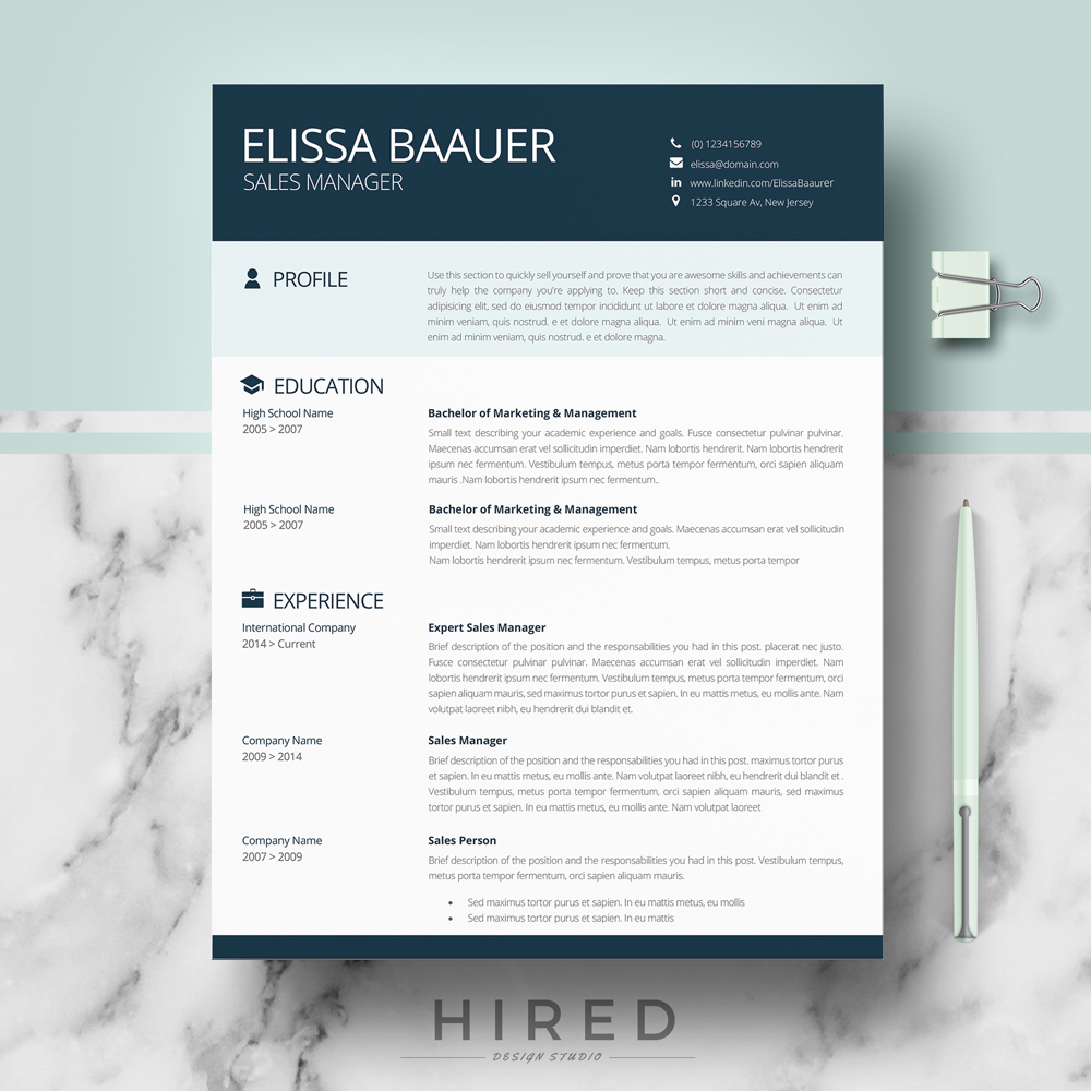 "Modern and Professional Resume Template for MS Word: ""Elissa"""