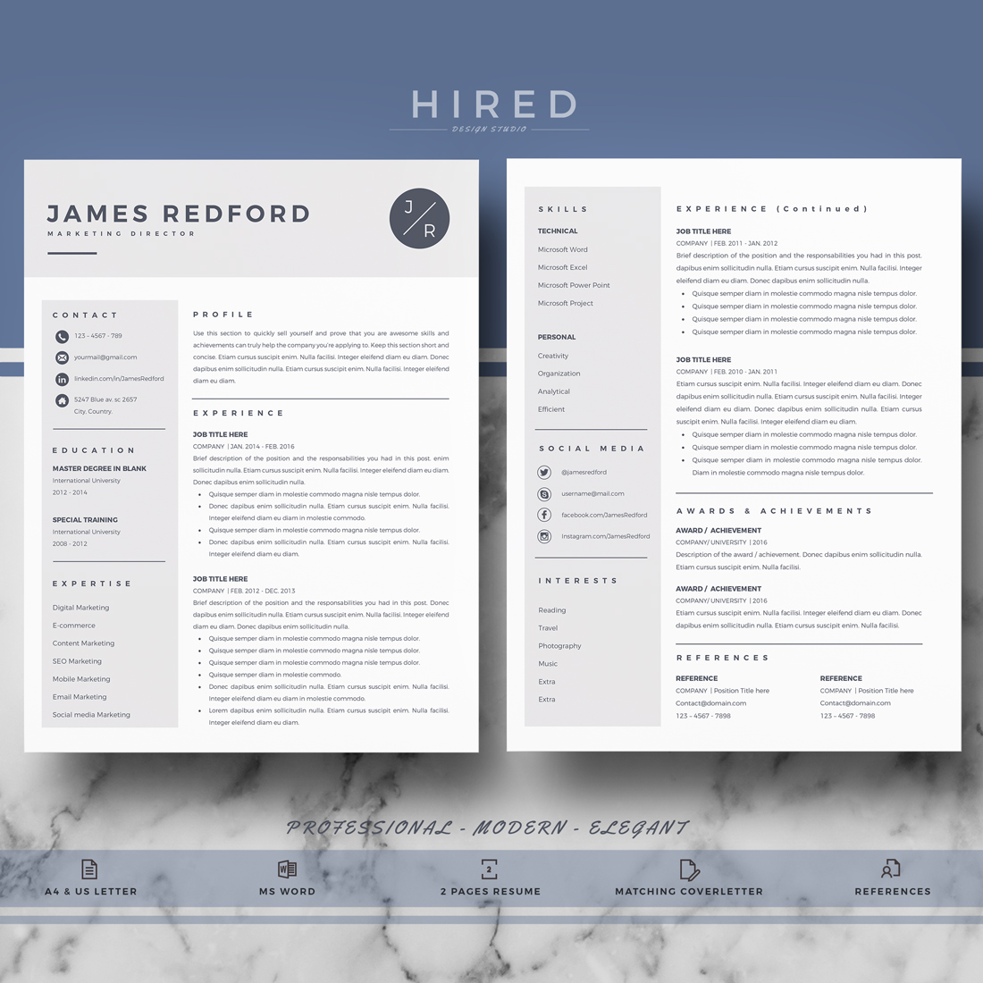 """Professional & Modern Resume Template for MS Word: """"James"""""""