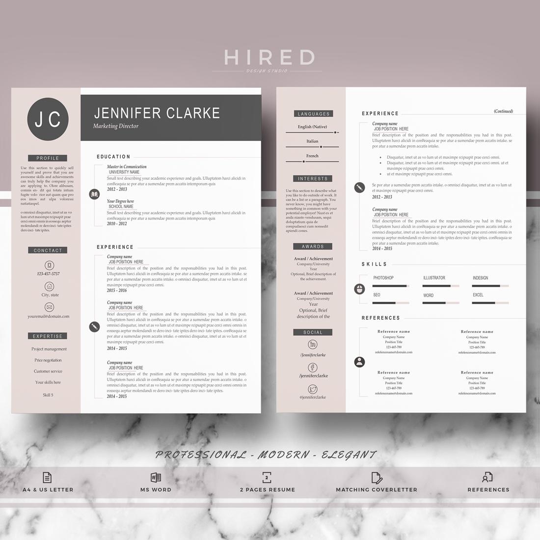 "Professional & Modern Resume Template for MS Word: ""Jennifer"""