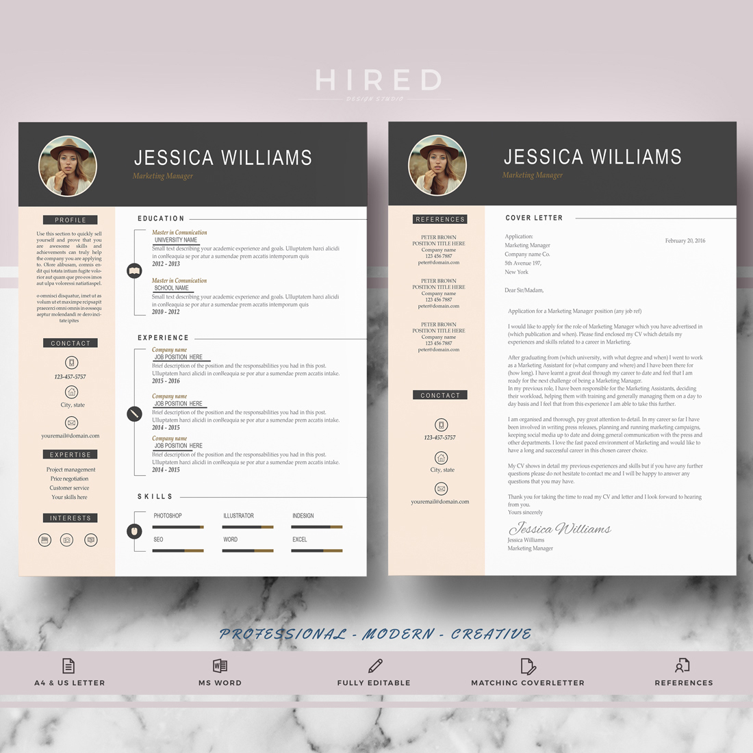 "Professional & Modern Resume Template for MS Word: ""Jessica"""