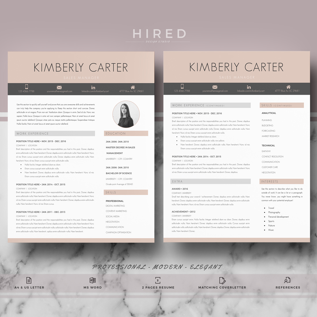 "Modern Resume Template for MS Word: ""Kimberly"""